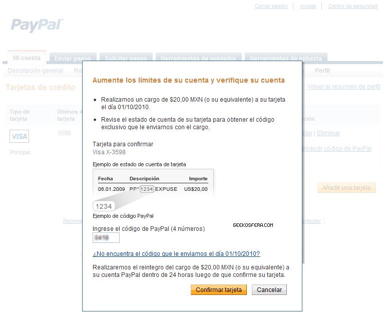 Ingrese el código PayPal (4 números)