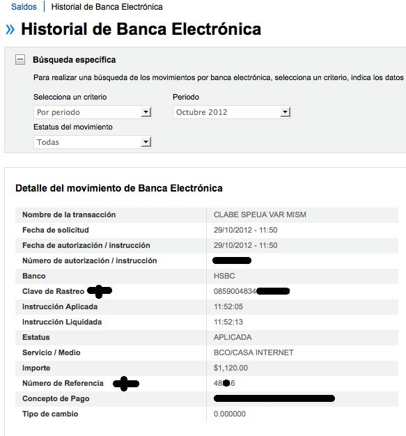 clave de rastreo y numero referencia banca en linea