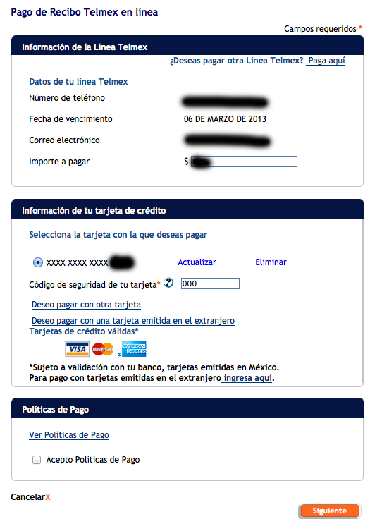 pago recibo telmex por internet