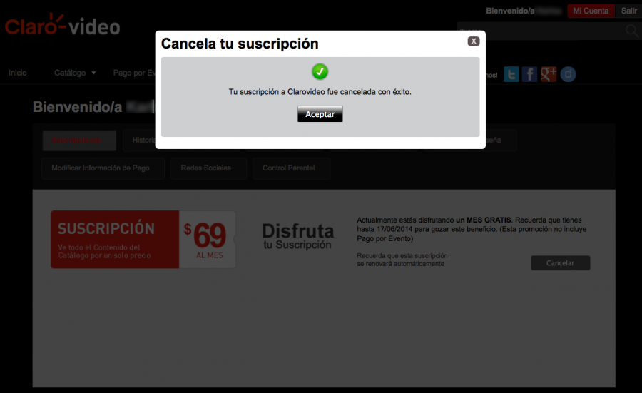 Aviso que aparece al cancelar el servicio de Clarovideo por internet