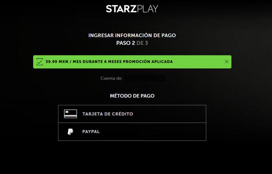 starzplay forma de pago